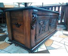 Cassapanca in legno tavolino armadio baule vintage in legno ottomano (ND1)