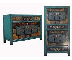OPIUM OUTLET Combinazione di armadio cinese e comò, credenza, credenza in stile coloniale shabby chic, motivi colorati