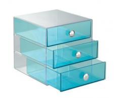InterDesign Drawers | Contenitore a scomparti con 3 cassetti | Mini cassettiera Portagioielli e make-up | pratico Organizer ufficio | Plastica – blu acqua