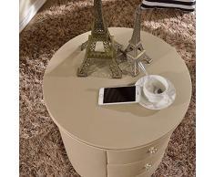WANG XIN Comodino Hotel White Bagagli con 3 cassetti Camera Locker Rotonda Comodino in Pelle Art 51x50cm (Color : A, Size : 51x50cm(20x20inch))
