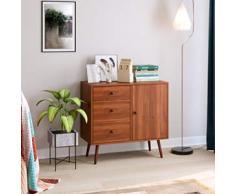Blackzebra Cassettiera da Terra Cassettiera con 3 cassetti Armadietti Cassettiera moderna in legno con 1 porta per soggiorno Marrone scuro 80x39x75cm