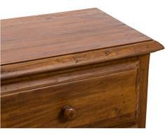 Comodino Country in legno massello di tiglio finitura noce 55x35x65 cm