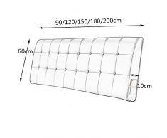 YUN-X Cuscino da Comodino Europeo da Comodino Schienale Lombare Cuscino Federa in Cuoio Sintetico 5 Dimensioni - per Letti Senza testiera (Colore : Beige, Dimensioni : 180 * 10 * 60cm)