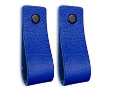 Maniglie di Cuoio | Blu / 2 pezzi | 16,5 x 2,5 cm | Pelle di buona qualita | 3 viti colorate | Maniglie di pelle per mobili: la cucina, armadio, porta, comodino