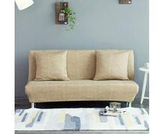 Monba Lino Modello Divano Letto futon Cover Pieghevole Senza braccioli Completo di Fodera per Living Room, Poliestere, Khaki, L:160-190cm