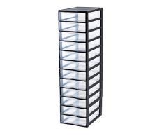 Sundis 4279001 Orgamix - Cassettiera a torre, in plastica, per fogli A4, 36,5 x 26 x 97 cm, colore: nero