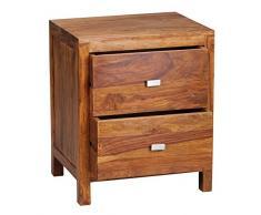 Wohnling WL1.371 Sheesham, Comodino in legno massiccio con 2 cassetti e un ripiano portaoggetti, 50 x 40 x 60 cm, Marrone (Braun)