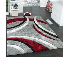 Paco Home Tappeto di Design con Bordo Definito Motivo A Righe Grigio Nero Rosso Screziato, Dimensione:60x110 cm