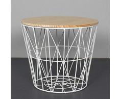 SCHS Nordic Ins Wind Minimalista Tavolino in Ferro battuto Tavolino Piccolo Tavolino Rotondo Comodino Angolare Cestino portaoggetti, Piccolo 35 cm