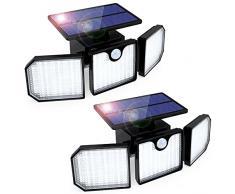 Luce Solare LED Esterno, GolWof 2 Pezzi 3 Teste Lampade Solari con Sensore di Movimento 270° Illuminazione Lampada Solare da Parete IP65 Impermeabile Luci Solari per Giardino Cortile Garage