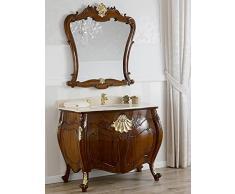 Simone Guarracino Como lavabo 2 porte e specchio stile Barocco Inglese noce particolari foglia oro marmo crema pomelli Swarovski