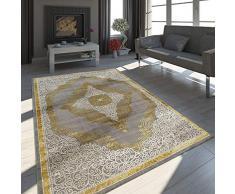 Tappeto Orientale Moderno Effetto 3D Ornamenti Mélange Grigio Oro Crema Brillante, Dimensione:80x150 cm