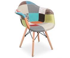 MC Haus Aura Pack 2 poltrone Vintage sedia da pranzo cucina Design Patchwork Multicolore, M