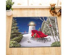 EdCott Animazione semplice sedia a slitta natalizia faro neve pace albero piccione impermeabile tappeto porta decorazione decorazione decorazione della stanza il bagno materiale flanella 40x60 cm