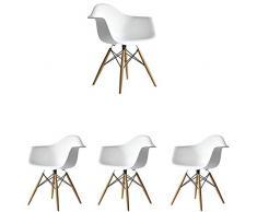 N/A Set di 4 sedie da Cucina Moderne Sedie da Pranzo scandinave Chaise Longue Sedie da caffè Sedia Laterale Design retrò con Gamba in faggio Massiccio (Bianco)