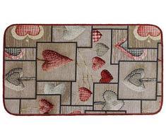 TAPPETO CUCINA moderno LOVE MULTIUSO Passatoia Cuori Lavabile in Lavatrice ANTISCIVOLO BORDATO 6 misure (cm 54 x 115, B - TORTORA)