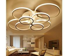 ONLT Plafoniera LED da soffitto,Super-sottile cerchio Soffitto moderni lampadari di luce Luce per soggiorno,sala da pranzo (Bianco caldo, 8 Teste)