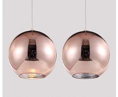Lampada a sospensione Luce sospesa Rotondo Moderno Ferro Paralume per Camera da letto capezzale Bar cucina Isola Tavolo della sala da pranzo Scala Loft Lampadario da soffitto (Oro rosa (rame), φ30CM)