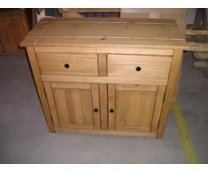Mercer's Furniture Credenza Panama con 2 Ante e 2 cassetti, Legno, Antique Wax, Dimensions (L*W*H): 93 x 41 x 80 cm