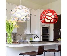 Xin Home Moderna personalità creative Ciondolo lampada occhiali di protezione per il ristorante per bambini Studio Camera matrimoniale Sala da Pranzo tavolo Bar lampadari, rosso 40cm con LED giallo