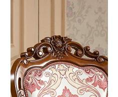 CZPF Tavolo da Pranzo in Legno Massello Europeo E Combinazione di Sedie Tavolo da Pranzo E Sedia Rotondo Americano Antico