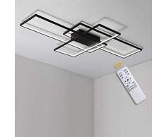 95W LED Lampada da soffitto Plafoniera a LED Soggiorno Dimmerabile con telecomando Soffitto Lamp Moderno Rettangolo Quadrato Designer nero Lampadari per Camera da letto Cucina Sala da pranzo Ufficio
