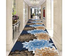 Tappeto Corridore Marrone corridoio Lavabile Tappeto Vintage Blu Fiore Area Lunga Tappeti tappeti Antiscivolo da Cucina tappeti Camera da Letto per Bambini Tappetino Hotel