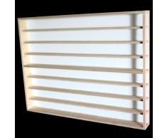 E43AL Elemento Vetrina parte sinistra (aperta a destra) con scanalature per modellismo scala H0 e N in legno di betulla, con 4 vetri di plexiglas, Dimensioni 100 x 75,5 x 10,5 cm, vetrinetta, bacheca