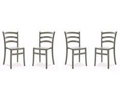 COLICO impilabile in poliprilene Adatta alla Sala da Pranzo, al Giardino o terrazzo. Sedia dalla Linea Classica rivisitata con Materiali e Colori Moderni, Polipropilene, Grigio Fango, unica