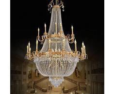 BJVB Lusso di cristallo lampada soggiorno sala da pranzo di alta qualità della lampada di rame Sala dei lampadari di cristallo piano composto Albergo Villa