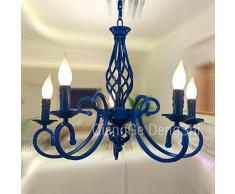 European metallo-Lampadario a sospensione 5 luci Mediterranean, la camera da letto, cameretta lampadari Kids-Lampada a sospensione, ideale per illuminazione sale da pranzo, colore: blu/nero/bianco, con Lighting Fixtures Classico blu