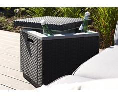 Allibert Daytona Set di 2 sedie a sdraio, da giardino, in polyrattan e borsa frigorifero Ice Cube, color grafite con rivestimento incluso