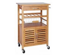 KOOPMAN exklusiver carrello da cucina in bambù – con scaffale per vino, Cesto di frutta e cassetto – Carrello con ruote – Tavolino