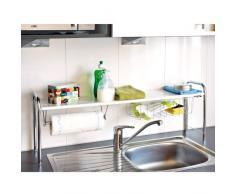 bremermann® mensola per lavello cucina, porta-rotolo, cestello, colore bianco