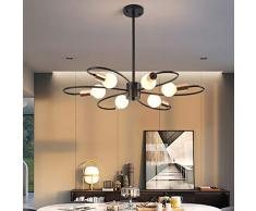 Qcyuui Lampadari Sputnik a 6 luci, Plafoniera moderna, Lampadario a sospensione in metallo da 60W Lampadario ad altezza regolabile per cucina Sala da pranzo Soggiorno Camera da letto, Nero