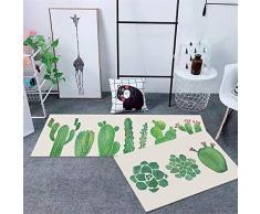 WGOO Carpet Tappeti Cucina Lavabile Antiscivolo Design Tappeto da Cucina,2PCS Cartoon Cactus in Vaso Stampa 6MM Spessore Tappeto da Bagno,40X60+40X120CM