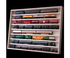 Vetrina (V02) per modellismo in legno di betulla, con 2 vetri di plexiglas, Dimensioni 90 x 58 x 6 cm, vetrinetta, bacheca, espositore, collezionismo