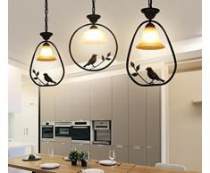 DHG Lampadari da pranzo in stile europeo, lampade da bar con personalità creativa nordica, ingresso sala da pranzo lampadari americani, lampadario con ingresso per uccelli,E,Taglia unica