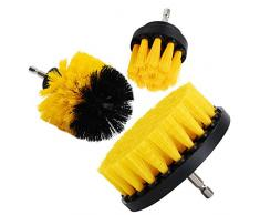 """OxoxO - Spazzola Drill Brush - 2"""" 3"""" 4"""" per la pulizia di docce, vasche da bagno, piastrelle, stucco, tappeti, pneumatici, cucina, Orange, 2""""+3""""+4"""""""
