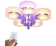 Yorbay Plafoniera da soffitto Lampadario di cristallo in Acciaio inox a Luce Led RGB per il soggiorno la sala da pranzo la camera ecc con telecomando (cinque luci)