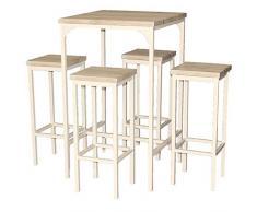 YELLOO MOD. Rimini Set Tavolo Bar Quadrato e 4 Sgabelli Beige H.110 cm Cucina Sedie Mobili