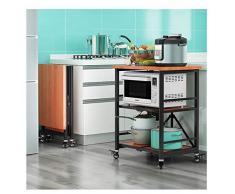 YYQ SHOP 3 Ripiani da Cucina in Acciaio Inossidabile, Carrello di Servizio Richiudibile, con Ruote di Bloccaggio per Cucina, Alberghi, Ristoranti, 60 * 45 * 80cm
