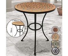 Jago - Tavolo da giardino con piano in mosaico e struttura in metallo, diametro 60 cm