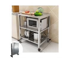 AMSXNOO Scaffalatura a 3 Ripiani, Scaffale da Cucina su Rotelle Carrello Portavivande in Acciaio Inossidabile Pieghevole Carrelli da Portata Salvaspazio (Size : 60X45X80CM)
