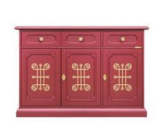 Credenza per cucina o salotto in color rubino con fregi dorati sulle ante, prodotto di artigianato veneto