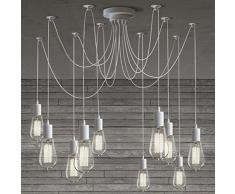 BAYCHEER Illuminazione a Soffitto DIY Plafoniere Lampada Metallo Retro Industriale Lampadario con 10 Luce -Bianco