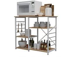 sogesfurniture Scaffale per Cucina in Acciaio Legno, 3 +3 Ripiani Carrello da Cucina per Microonde Forno, Scaffalature Organizzatore Salvaspazio, 90x40x83cm, Acero 171-MO-BH