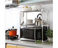 G4RCE MLU-B78-6AE Scaffale multifunzione, a due ripiani, per forno a microonde e altri oggetti, con gancio porta utensili, per tenere in ordine la cucina, prodotto nel Regno Unito, colore bianco