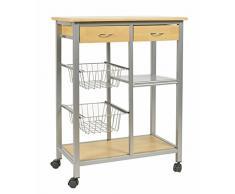 ts-ideen Carrello portavivande 63 x 82 cm in Alluminio e MDF color Faggio per Cucina o Sala da Pranzo