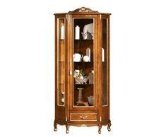 Mobile vetrina ad Angolo in Stile Classico, Raffinati Intagli e Decorazioni con Foglia Oro. per la Sala da Pranzo o per Il Salotto. Alta qualità Artigianale Italiana.